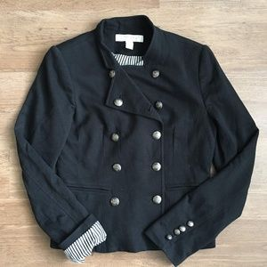 double breasted military jacket w/pinstripe lining